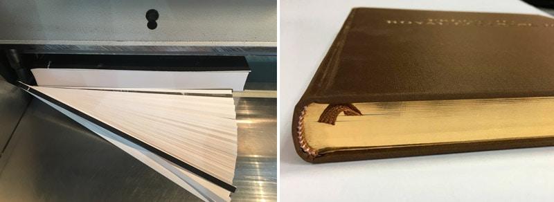 corte o canto de un libro, ejemplo de guillotina y entintado
