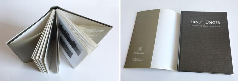libro con sobrecubierta, ejemplo del libro abierto y cerrado encuadernado en tapa dura con sobrecubierta o camisa
