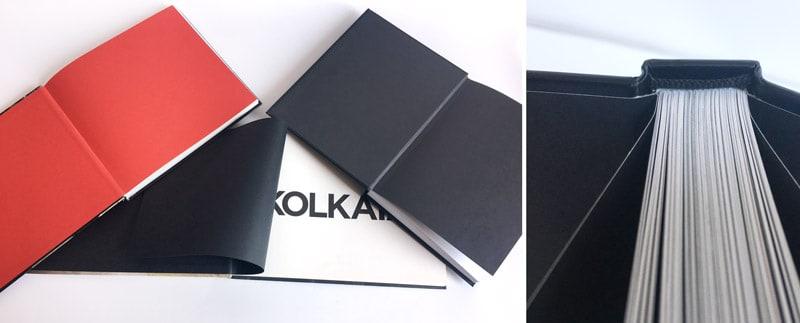 detalle de colocacion de la guarda de un libro y ejemplos de libros con guardas de colores