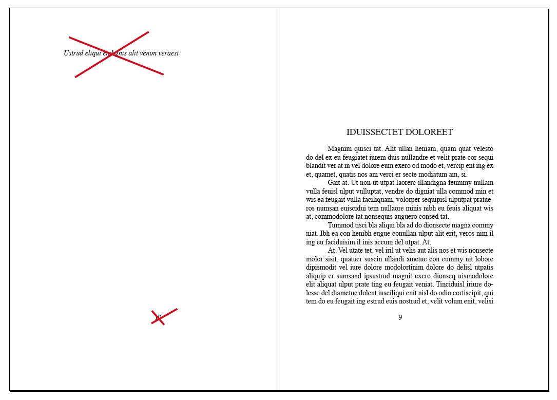 Texto cabecera y numeración página blanca