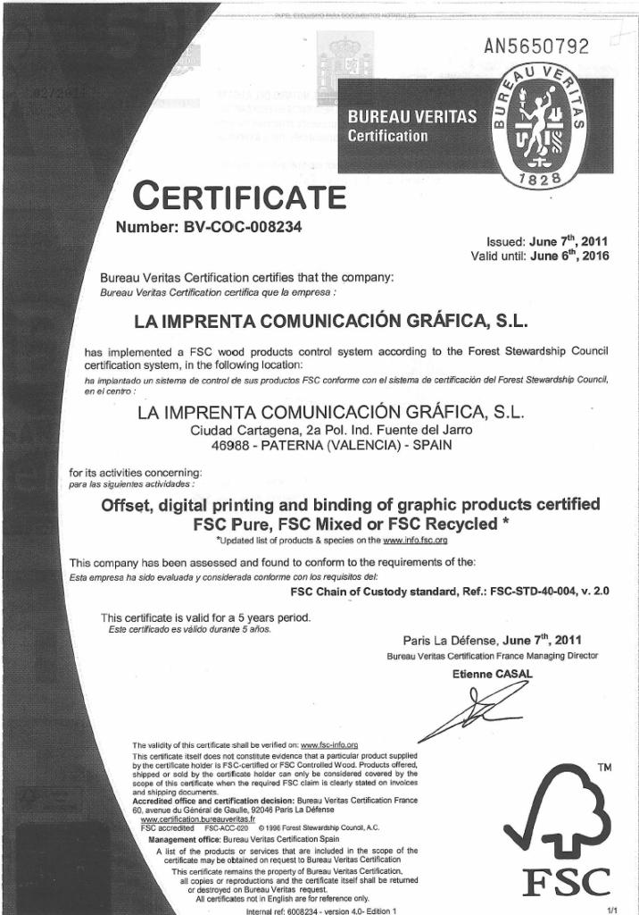 Certificado FSC de La Imprenta CG