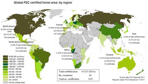 Areas de cerficación FSC en el mundo