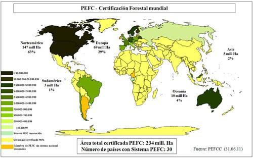Areas de certificación PEFC en el mundo