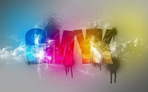 Los cuatro colores de impresión CMYK