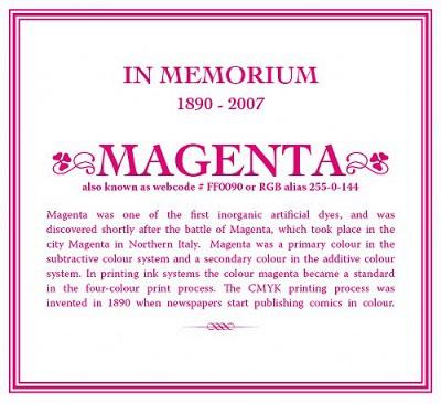 In memoriam del magenta 1890-2007