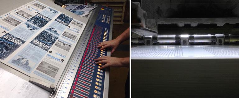 Mesa de control cromático y máquina de impresión offset de La Imprenta CG a pleno rendimiento.