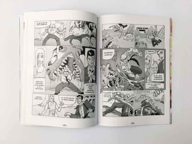 comic area 51 interior doble pagina en negro