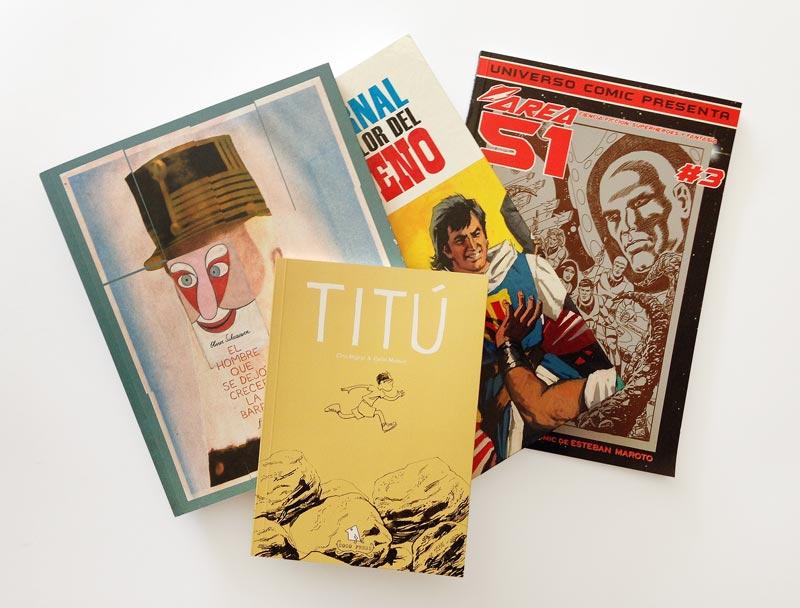 ejemplos de cómics impresos en la imprenta cg