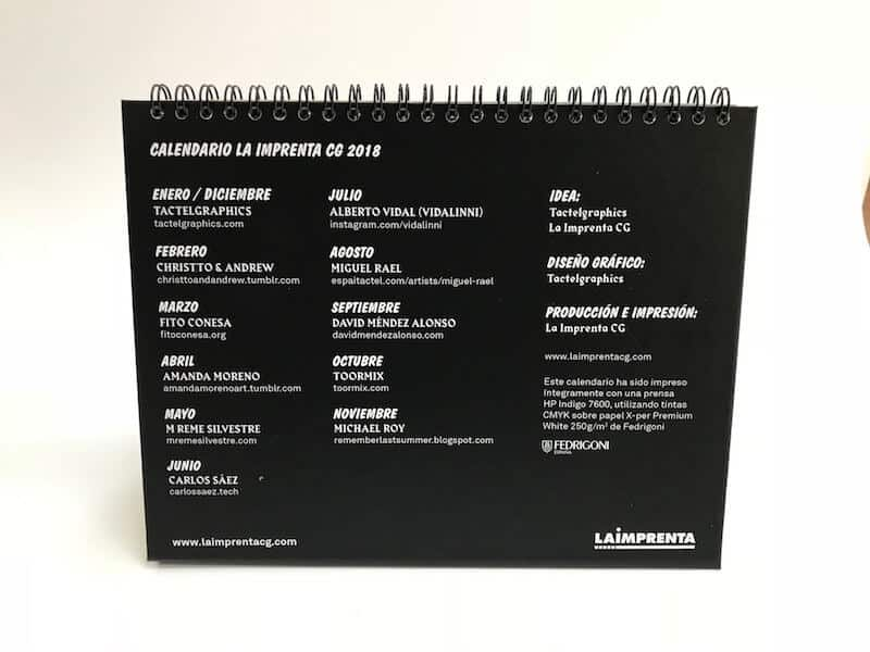 Calendario la imprenta CG 2108 creditos
