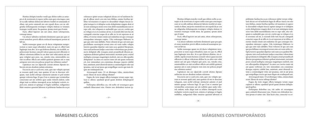 Dos ejemplos de márgenes de libros, uno clásico y otro moderno