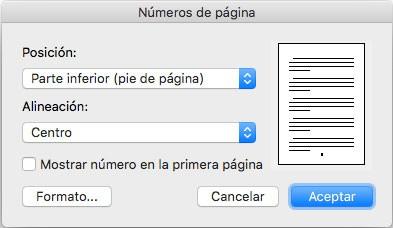 como configurar el numero de pagina en word