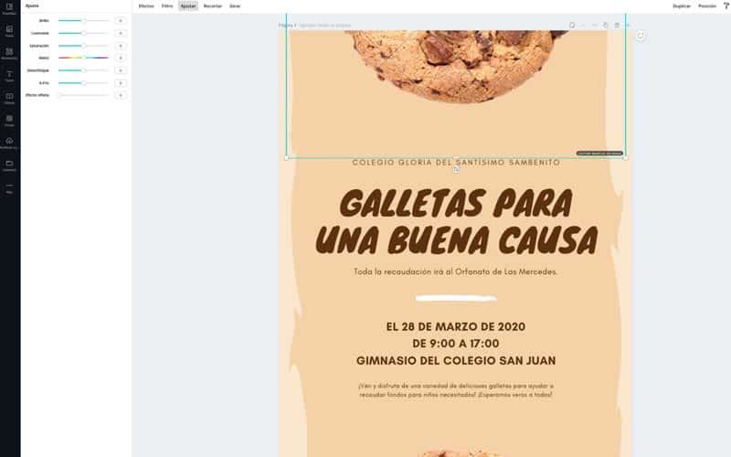 Diseño flyer con Canva retocar imagen