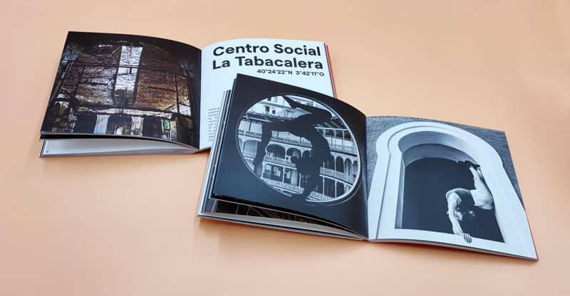libro de fotografia El vuelo circular. Doble pagina del Centro Social La Tabacalera
