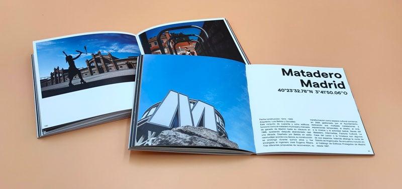 doble página del centro Matadero de Madrid del libro de fotografia editado por Firco