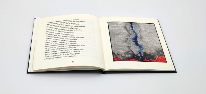 Libro La luz oida - doble pagina con fotografia y poesia